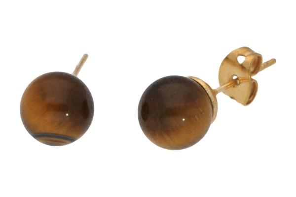 Damen Paar Stecker Ohrstecker aus Tigerauge braun 10mm 925 Silber Ohrschmuck