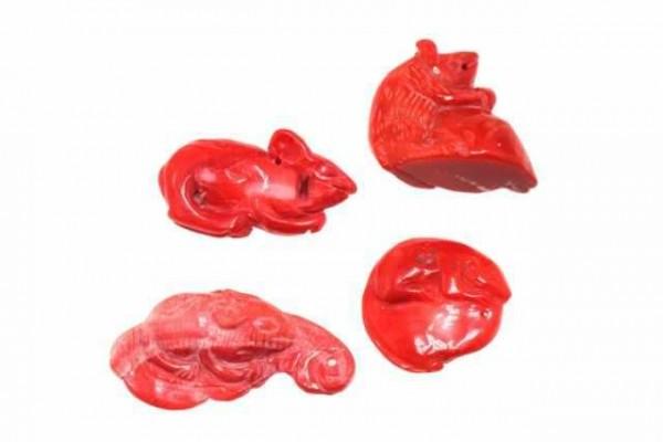 Ratte mit Bohrung, 20-30mm, Koralle gefärbt