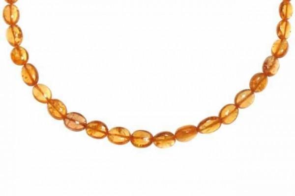 Ovalstrang 3x3,5-4,5x6mm/40cm, Mandarin-Granat