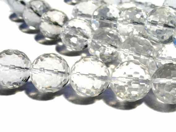 Kugelstrang facettiert 16mm/40cm 128-cut, Bergkristall