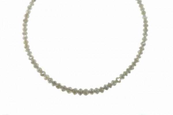 Buttonstrang facettiert 2,3-4,2mm/42cm, Diamant silbergrau