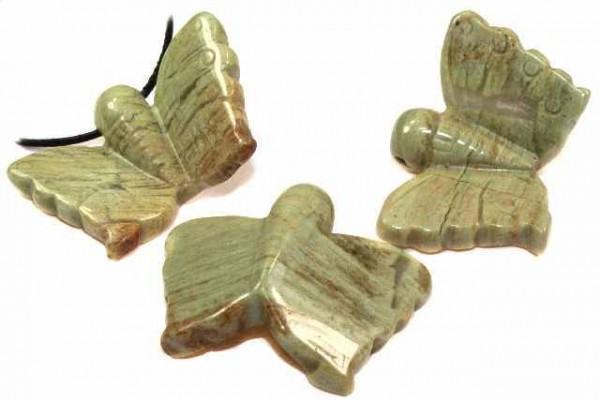 Schmetterling mit Bohrung, 30x40mm, Jaspis grün