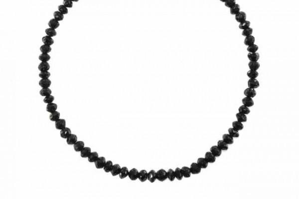 Rondellenstrang facettiert 4-4,2mm/43cm, schwarzer Diamant