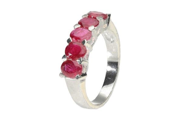 Ring Größe 52 aus Silber 925 mit 5 facettierten Ovalen, roter Saphir